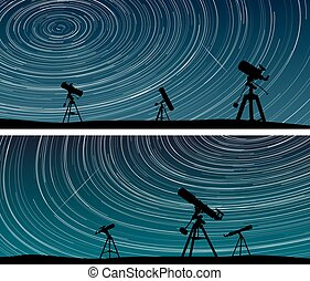 Horizontal banners of stars trace circles on the sky with...