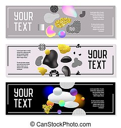 Horizontal Banners Set with Gold Glitter Fluid Shapes. Poster Invitation Voucher Brochure Templates with Molecular Elements. Abstract Cards Design. Vector illustration