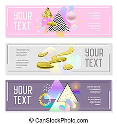 Horizontal Banners Set with Gold Glitter Geometric Elements and Fluid Shapes. Poster Invitation Voucher Templates. Abstract Cards Design. Vector illustration