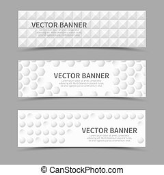 Horizontal banners with 3D geometric shapes. Vector set