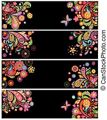 Horizontal banners with abstract floral pattern