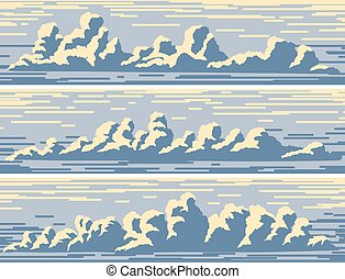 Horizontal banners with blue cumulus clouds. - Set of...