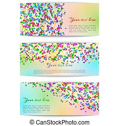 Horizontal banners with confetti - Set of festive banners...