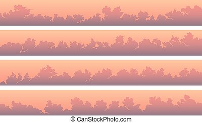 Horizontal banners with cumulus clouds at pink sunset.