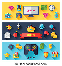 Horizontal banners with game icons in flat design style.