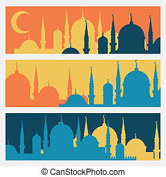 Horizontal banners with Islamic mosques in flat design...