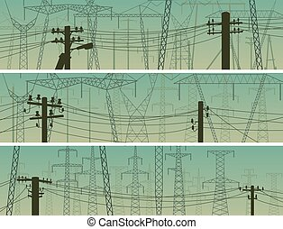 Set of horizontal banners with power line poles with wires on voltage transmission.