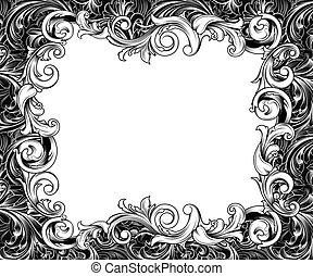 horizontal, barroco, dibujo, marco, tinta