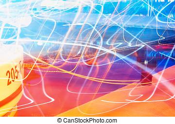 horizontal, bewegung, licht, spuren, hintergrund