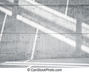 horizontal, bild, leer, grungy, glatt, bloß, betonwand, mit, sunrays, zurückwerfend, auf, surface., leerer , abstrakt, hintergrund., schwarz weiß