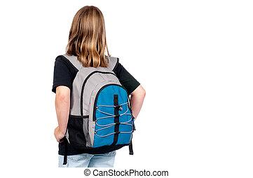 horizontal, bild, von, a, schule- mädchen, mit, a, rucksack,...