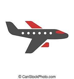 Horizontal Black and Red Aircraft Hand Drawn Icon -...