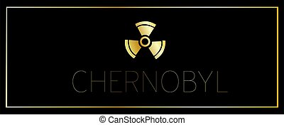 Horizontal black banner. Theme of Chernobyl. Pripyat. Chernobyl disaster. Ukraine. The nuclear reactor exploded. Radiation sign.