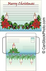 Horizontal Blank and envelope for Christmas letter or postcard. Congratulations on Merry Christmas and Happy New Year. Blank in line decorated with Candles and Xmas plants - holly and poinsettia.