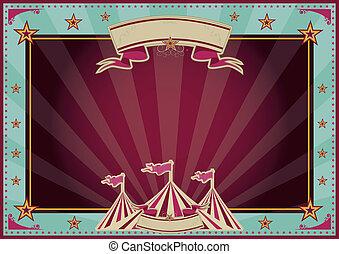 Horizontal blue and purple sunbeams circus
