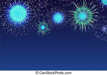 Horizontal blue background with fireworks displaying in dark evening sky. Backdrop decorated with glittering lights. Festival celebration, eye-catching pyrotechnics show. Colorful vector illustration.