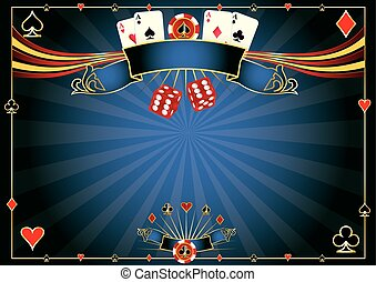 Horizontal blue Casino - A casino horizontal background for...