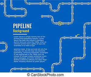 Blue Industrial background with white pipes for water, gas, oil,