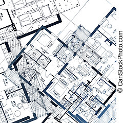 horizontal, blueprint., vektor, abbildung