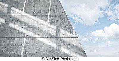 horizontal, breit, foto, leer, grungy, glatt, bloß, betonwand, mit, sunrays, zurückwerfend, auf, surface., leerer , abstrakt, hintergrund., blauer himmel, wolkenhimmel