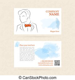 Horizontal business card man in orange bow tie