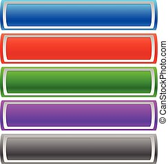Horizontal button, banner templates in 5 color