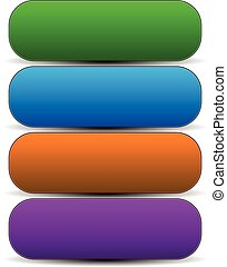 Horizontal buttons with blank space, rounded colorful button, banner backgrounds.