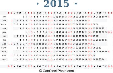 Horizontal calendar for year 2015 - Horizontal vector...