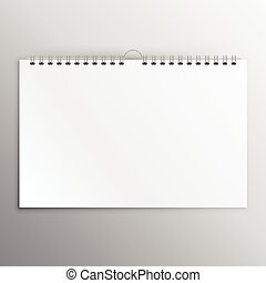 horizontal calender or notebook blank mockup design template
