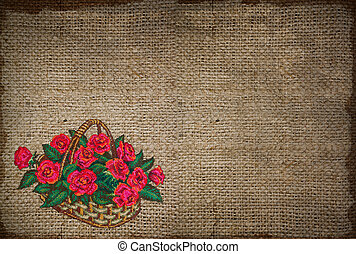 background with embroidered basket of roses