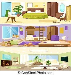 Horizontal Cartoon Living Room Interior Banners