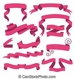 Horizontal cartoon ribbon banners vector. Set of pink ribbons in flat style