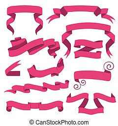Horizontal cartoon ribbon banners vector. Set of pink ribbons in flat style