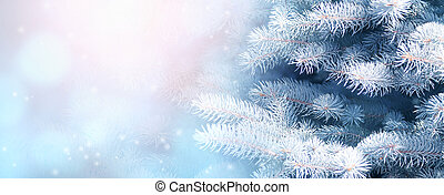 Horizontal Christmas background with branch of fir tree