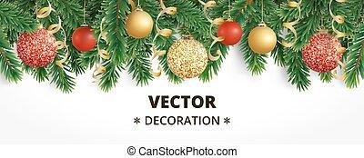 Horizontal christmas banner with fir tree garland, hanging...