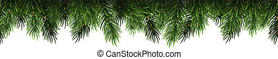 Horizontal Christmas border frame with fir branches, pine cones. Vector illustration.