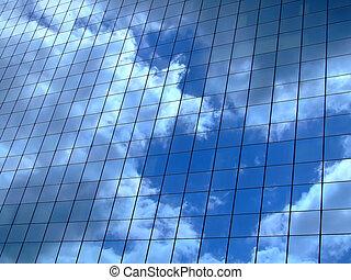 horizontal, cielo, reflexión