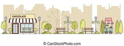 Horizontal city landscape with central public park Line art