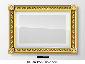 Horizontal classic picture in gold frame