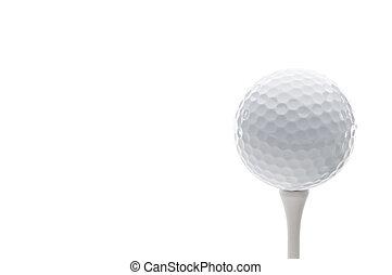 Horizontal close up of a golf ball on a tee