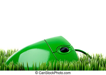 horizontal close up of a green computer mouse on grass