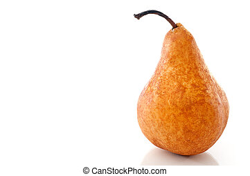 Horizontal close up of a pear on a white reflective surface
