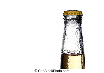 Horizontal close up of a single bottle of beer on white