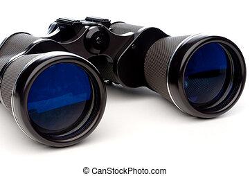 Horizontal close-up of binoculars on a white background