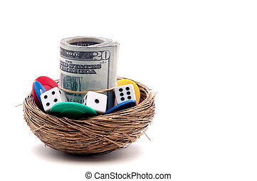 Horizontal close up of gambling on a nest egg
