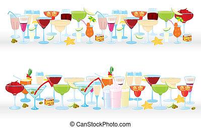 Horizontal cocktail borders - Vector illustration of...