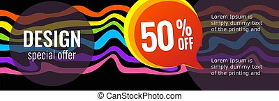 Horizontal color banners with rainbow waves on black background.