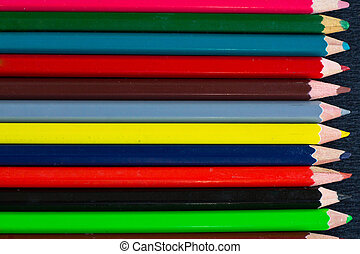 Horizontal colorful stripes of multicolored wooden pencils background