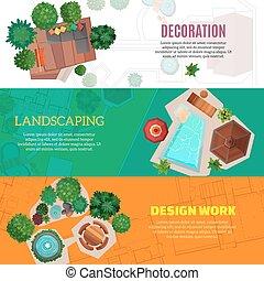horizontal, conception, bannières, paysage