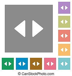 Horizontal control arrows square flat icons